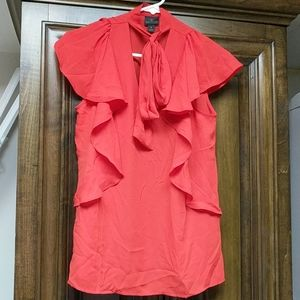 Worthington red professional front tie blouse NWT